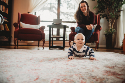 Baby Leland visits KBC with his Mom, Chelsea Campbell, LMT, LM, CPM